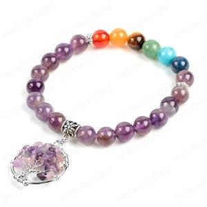 8mm Natural Purple Quartz Crystal Amethys Chakra Beads Bracelets Gem Stone Chips Dangle Tree of Life Charms Jewelry