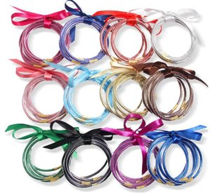 Glitter Bangles Set Glitter Filled Silicone Plastic Bowknot Jelly Summer Bracelets Hot Selling ps2253