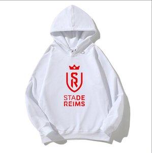 21/22 Stade De Reims 남성용 코튼 후드웨어 축구 캐주얼 긴팔 스웨터 소년을위한 느슨하고 편안한 삶의 스웨터