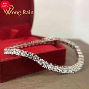 Wong Chuva 925 Sterling Silver Criado Moissanite Gemstone Bangle Charme Bracelete Fine Jewelry Atacado Drop Shipping