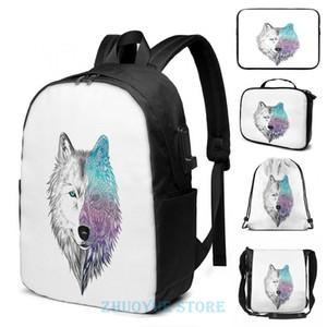 Backpack Funny Graphic Print Wolf Mandala USB Charge Men School Bags Women Cosmetic Bag Travel Laptop