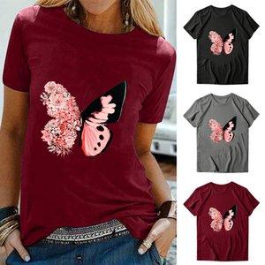 Frauen Sommer Tees Schule Schmetterling gedruckt Kurzarm Rundhals-Blusen T-Shirts