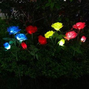 Solar Lamps Led Light Outdoor Rose Flower Waterproof Garland Power Lamp Christmas For Garden Decoration