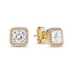 925 Sterling Silver Square Big CZ Diamante Brinco Fit Pandora Jóias Gold Rose Gold Banhado Garanhão Brinco Mulheres Brincos 322 T2