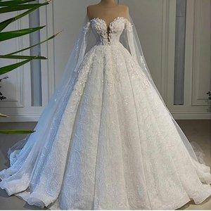 Реальное изображение Чистая шея белая линия свадебные платья с накидным кружевом блестения плюс размер свадебные платья арабские роскошные ролики де Марие