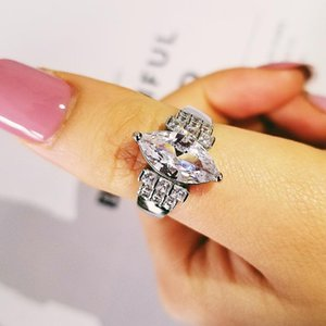 Cluster Rings 925 Sterling Silver Creative Marquise Cubic Zircon Engagement Ring For Women Wedding Party Gift Finger Big Brand Jewelry R4585