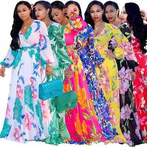 2021 Designer Women Bohemia Dresses Fashion floral print BOHO Maxi Beach Dress Sexy Deep V Long sleeve casual Chiffon party dress