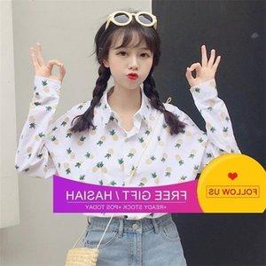 2020 봄과 여름 대학 한국어 버전 작은 신선한 파인애플 인쇄 학생 긴 소매 셔츠 블라우스