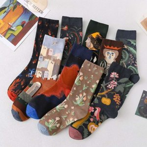 Socks men's middle tube autumn and winter trend oil painting socks personalized cotton long women's