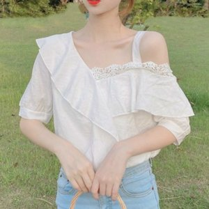knits Elegant Women Off Shoulder Sweet Chiffon Japan Style Kawaii Womens Blouse White Shirt for Summer Tdh6
