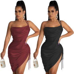 Cross-border European and American women's slim dress drawing pleat halter bag hip sexy back short skirt
