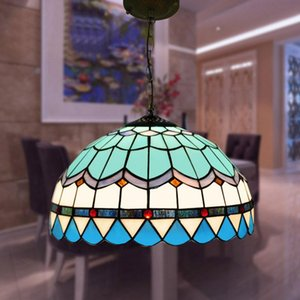 Tiffany Mediterranean Colorful Glass Pendant Lights For Dining Room Bedroom Single Lamp Balcony Bar Blue 90-260V 0056 Lamps