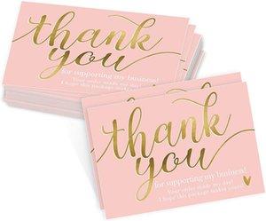 50 adet / paket Küçük kartvizitleri desteklediğiniz için teşekkür ederiz Pembe Kağıt Hediye Dekorasyon Etiket Özel Ürünlerinizi Yazın Kart Tebrik