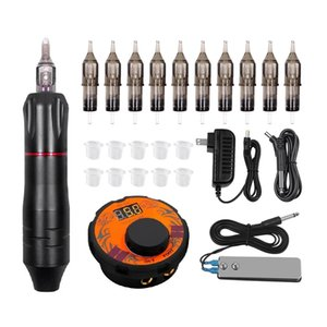 Professional Tattoo Machine Set Rotary Gun Tattoo Pen Needles Sets Permanent Makeup Machine Accessories Body Art Tattoo Supply 210324
