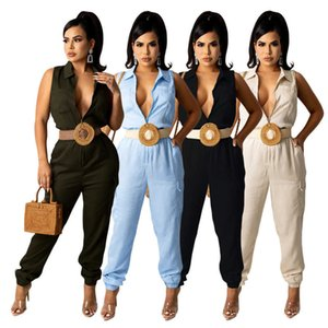 Solid Color Rompers Womens Jumpsuit 2021 Turn-down Collar Sleeveless Full Length Overall Casual Zipper Front Long Outfit S-XXL