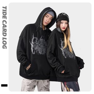 2021 tide brand log autumn and winter new products high street dark Gothic alphabet print Pullover Hooded black sweater men_good