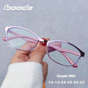 Iboode Student Myopie Brille Rahmen Frauen Elegante Vintage Anti Blue Light in der Nähe von Sichtglas Männer 100 bis 350 Grad Myopic Eyewear Sonnenbrillen