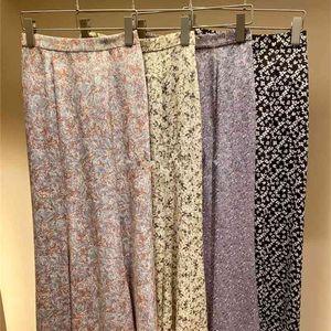 Kuzuwata vintage alta cintura impresa trompeta falda primavera verano nuevo simples mujeres faldas estilo Japón estilo elegante temperamento jupe 210323