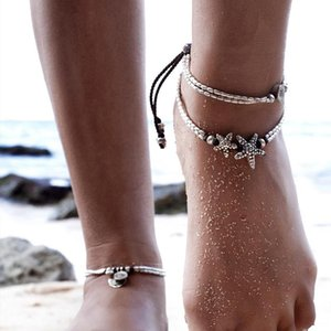 Anklets Summer Beads Pendant Anklet Foot Chain Ankle Starfish Bracelet Charm Double Beach Vintage Jewelry