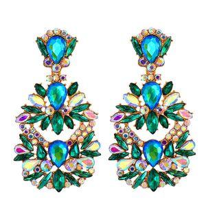 Crystal Drop Boucles d'oreilles Boucles d'oreilles colorées Drop Boucle d'oreille de luxe Bague d'oreille de luxe Bijoux Accessoires pour femmes