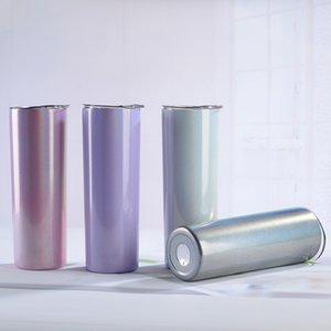 Glitter Sublimation Blanches Tumbler 20oz Taperd Rainbow Tumblers Skinny Portable Tasse à café Thé Bière Tasse Bouteilles d'eau mince