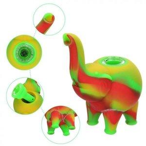 4,9 polegada silicone elefante tubos mini tubos de água bodbler múltiplos plataformas de óleo colorido bong grau de alimentos hookah bongs erva