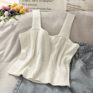 Women's Tanks & Camis 066C Women Knitted Sleeveless Crop Top Sweet Floral Embroidery Slim Short Vest Sexy Square Neck Harajuku Tank Sweater
