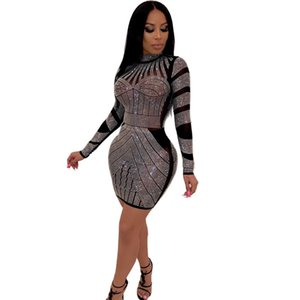 Women dress Style Sexy Night Club Fashionable Set auger Round Collar European And American Wind Dresses