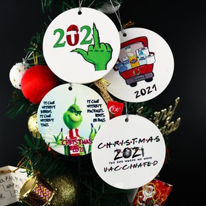2021 Grinch Quarantine Christmas Ornament Xmas Hanging Ornaments Personalize for Christmas Tree Decor Wearing Mask Designer FY4827