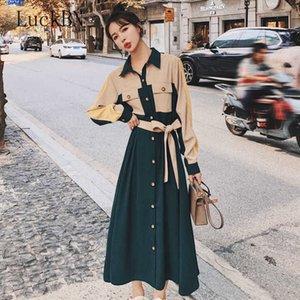 Autumn Casual Sashes Women Maxi Dress Turn Down Collar Loose Patchwork Button Up Pocket Ladies Shirt Dresses Robe Vestidos 2021 G1011
