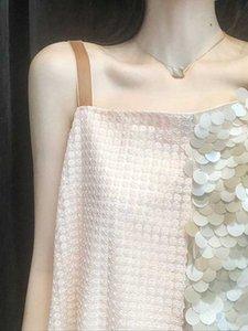 İnce Seksi Örgü Dikiş Pullu Askı Elbise kadın Kore Versiyonu Gevşek Tasarım Anlama Dikkatli Makine Bir Adım Etek Bluzlar Gömlek
