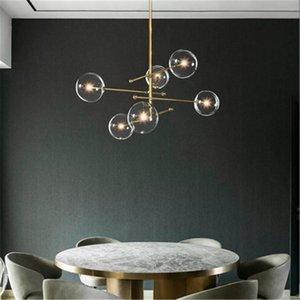 Pendant Lamps Nordic Led Stone Glass Ball Luminaire Hanging Lamp Living Room Lights Ring Bedroom Livingroom