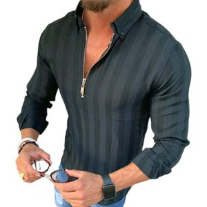 Men's Casual Shirts Men Spring Shirt Long Sleeves Zipper Turn-down Collar Tops Breathable Polyester Striped Printed Daily Life