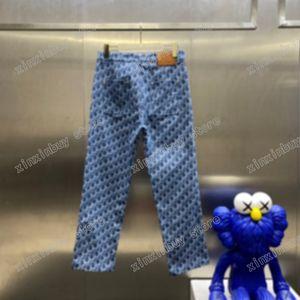21ss Mens Women designer pants blue Denim Jacquard letters Spring summer Men Webbing Pant Casual letter Trousers Wedding black white 05