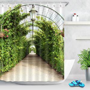 Rideaux de douche 72 '' Salle de bain Tissu étanche Rideau en tissu Polyester 12 crochets Accessoire de bain Ensembles de la vigne Tunnel Arbor dans le jardin Rundale Lettonie