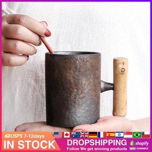 Mugs Japanese-style Vintage Ceramic Coffee Mug Tumbler Rust Glaze Tea Milk Beer With Wood Handle Water Cup Home Office Drinkware