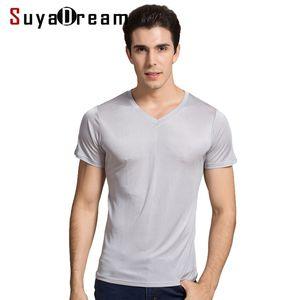 SuyaDream Hombres Camiseta básica de seda natural V Silg S sólido Camisetas de manga corta blanca Negro gris primavera verano top 210325