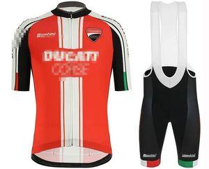 Yarış Setleri Nefes Ropa Ciclismo Hombre Tulum Kitleri 19D Jel Pad Ducati Kısa Kollu Bisiklet Formaları Bib erkek MTB Bisiklet Giyim