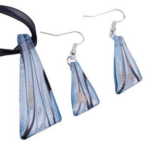 Murano Cam Kolye Gümüş Folyo Lampwork Kolye Üfleme Kolye ve Küpe Setleri Moda Takı Toplu Mus015 636 Q2