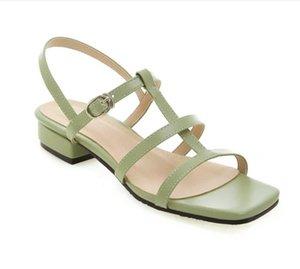 2021 yeni stil kadın yaz moda sandalet, kalın topuklu, kare topuklu, açık ayak parmakları, retro bayanlar, deri rahat ayakkabılar