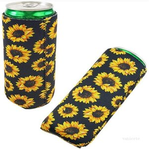 17*8.5cm Can Cooler Slim Can Insulators Neoprene Beverage Beer Cooler Collapsible Cola Bottle Koozies Cactus Leopard Can Sleeve ZC368
