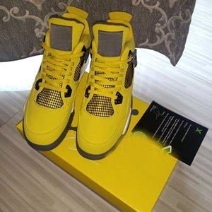 4 Lightnings أحذية كرة السلة الرعد الرجال 4S أحمر أسود أوريو في الهواء الطلق الرياضة الأصفر الأبيض والأزرق الداكن رمادي أحذية رياضية مع صندوق حجم US7-13 CT8527-700