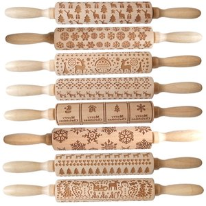Embossing Wooden Rolling Pin with Christmas Snowflake Flower Pattern for Baking Embossed Cookies, Kids and Adults Cute Kitchen Tool FY4820