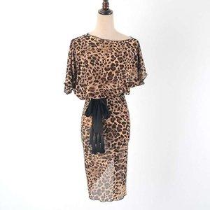 Bühnenkleidung Leopard Print Latin Kleid Salsa Cha Samba mit Gürtel PRATICEWEAR W2021