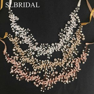 SLBRIDAL Rose Gold Crystal Pearls Wedding Hair accessories Hairband Bridal Headband Bridesmaids Jewelry Women 210616