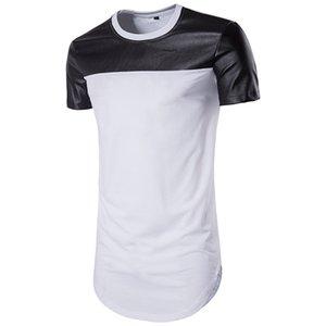 남자 컬러 블록 캐주얼 티셔츠 티 디자이너 티셔츠 짧은 소매 라운드 넥 스타일리스트 티 남자 화이트 블랙 streetwear 망 가죽 패치 워크 빈티지 탑 B106