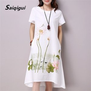 Saiqigui Yaz Elbise Artı Boyutu Kısa Kollu Beyaz Kadın Elbise Rahat Pamuk Keten Elbise Lotus Baskı O-Boyun Vestidos de Festa 210317