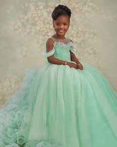 2021 Mint Pearls Sheer Neck Tiers Tutu Flower Girl Dresses Fashion Tulle Elegant Lilttle Kids Birthday Pageant Weddding Gowns