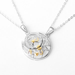 925 Sterling Silver Star Moon Lovers Necklace Fashion Women with Diamond Crescent Sun Pendant Necklace The Best Gift