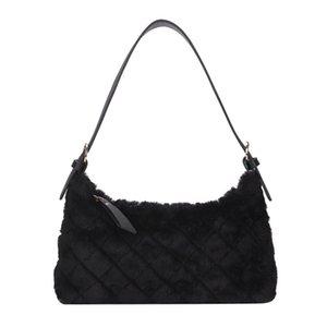 2021 Fashion Lattice Pattern Underarm Bag Autumn Women Solid Color Plush Shoulder Handbags Portable Commuter Street Phone Purse